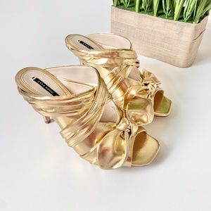 Zara Strappy Bow Heels Metallic Gold Size 37/6.5